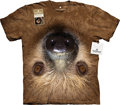 The Mountain Upside Down Sloth Face USA T-Shirt, X-Large, Brown