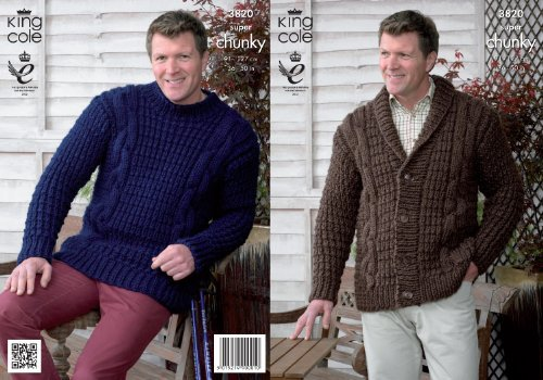 King Cole Mens Super Chunky Knitting Pattern Cable Knit Jacket / Cardigan & Sweater 3820 by King Cole by King Cole