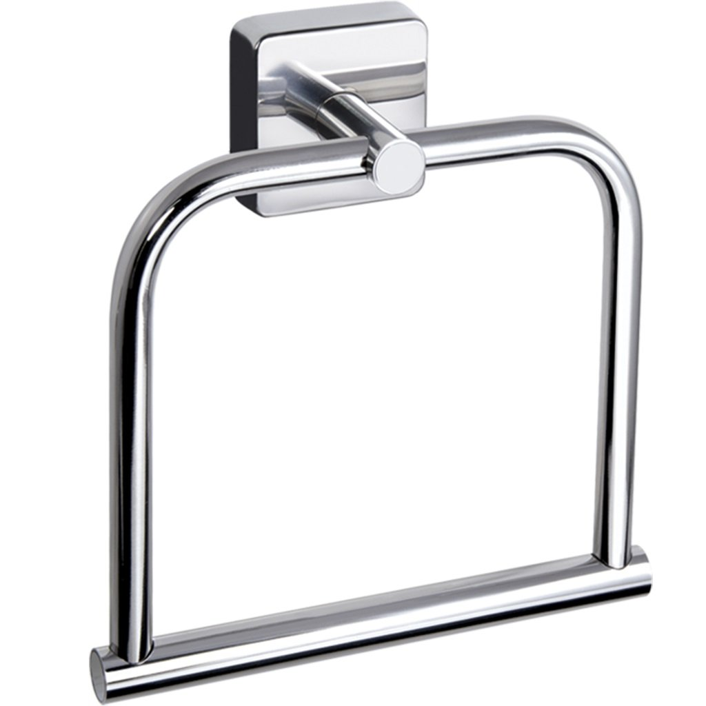 Kapitan Quattro Towel Ring Square Style Stainless Steel Bathroom Towel Hanger Holder 7.09 inches/ 18cm, AISI 304 18/10, Polished Finish, Wall Mounted 3M Self Adhesive, Made in EU, 20 Years Warranty Others