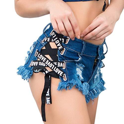 Bleu Bo Short de t Pants Hot Jean te Nuit Femme Mini COMVIP Denim Court en Jean a Ultra fawUqfP