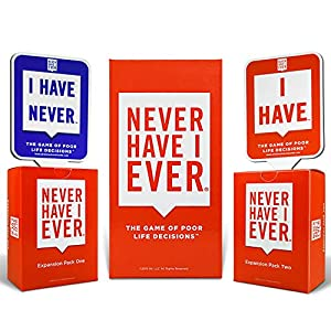 Never Have I Ever Combo Pack Card Game and Expansion Pack One & Two and 10 Paddles 3