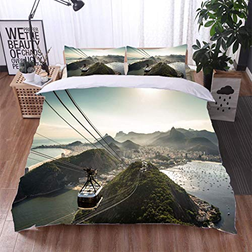 (VROSELV-HOME Modern Pattern Printed Duvet Cover,View of Rio de Janeiro from The Sugarloaf Mountain,Soft,Breathable,Hypoallergenic,Soft Microfiber Bedspread Coverlet Bedding)