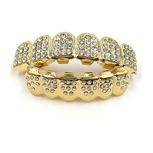 JINAO 14K Gold Plated ICED Out CZ Teeth Grillz Top Bottom Tooth Caps Hip Hop Bling New Gold Shiny Grills (Gold)