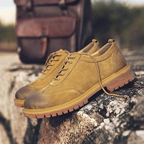 CHENGYANG Herren Winterschuhe Outdoor Schuhe Casual Business PU Leder Turnschuhe Sneakers Gelb
