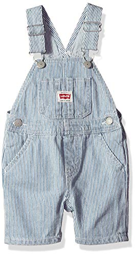 Levi's Baby Boys Denim Shortalls, White, 12M (Striped Shortall White)