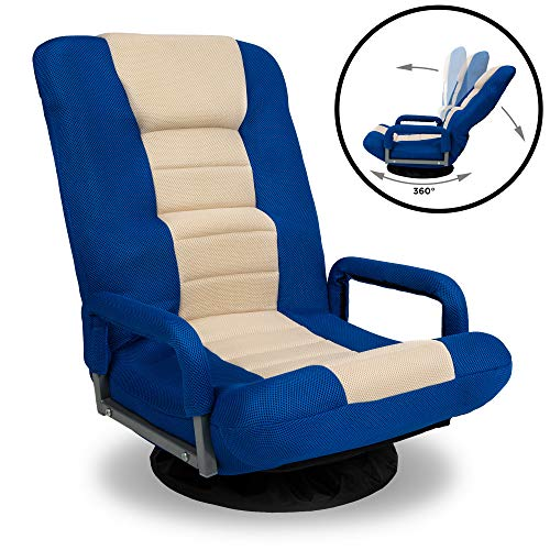 Best Choice Products 360-Degree Swivel Gaming Floor Chair w/Armrest Handles, Foldable Adjustable Backrest – Blue/Beige