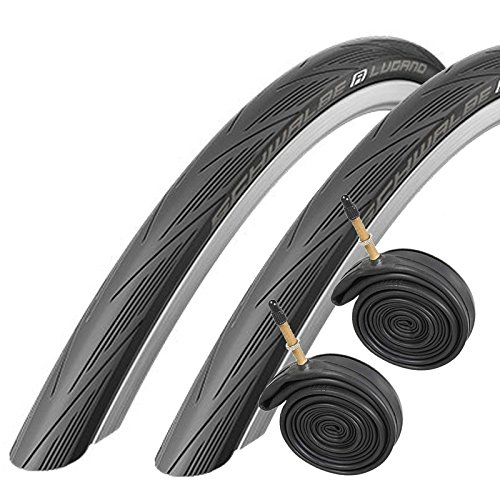 Schwalbe Lugano 700c x 25 Road Racing Bike Tires and Tubes (with Puncture Protection) (PAIR) - Black