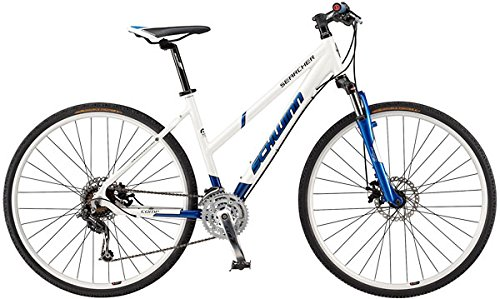 Schwinn Searcher Comp 700C Ladies Comfort and Hybrid 24 speed Suspension disc Bikes white / blue XS small