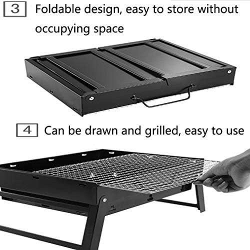 B-D Le Fer Barbecue Pliant Portable Pliable, pour 3-5 Personnes Famille Cuisine en Plein Air Randonnée Pique-Niques Camping Barbecue Party avec Poignée 35 * 27 * 20Cm