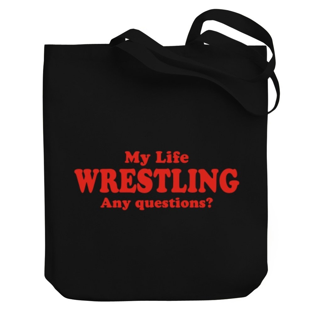 Teeburon MY LIFE IS Wrestling ANY QUESTIONS ? Canvas Tote Bag