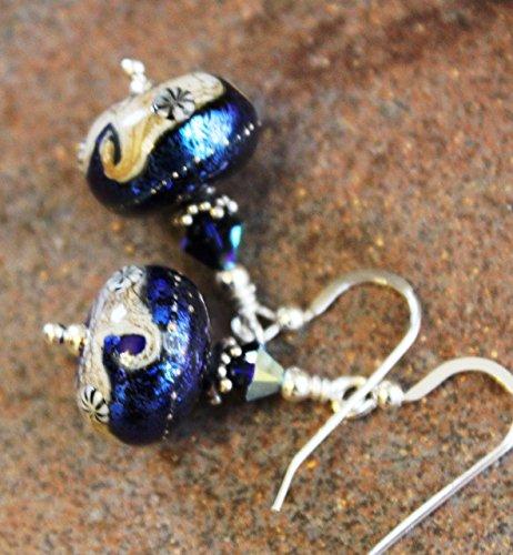 Ocean Wave and Cobalt Night Skies Art Glass Lampwork Earrings Sterling Silver Dangle Blue