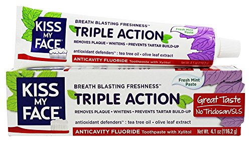 Kiss My Face Triple Action Fresh Mint Anticavity Fluoride Toothpaste, 4.1 oz