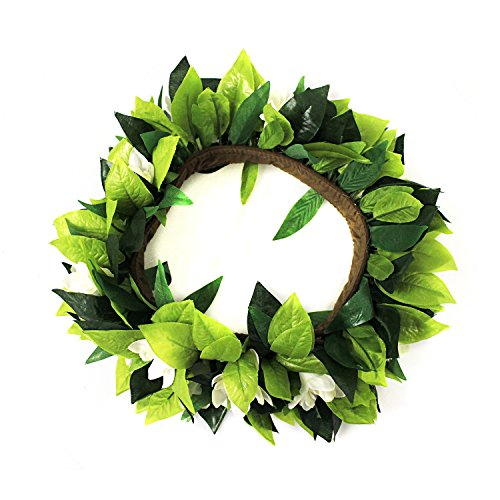Hawaii Luau Party Maile King Artificial Fabric Leaf and Tuberose Cotton Inlay Fasterners Haku Head Band ()