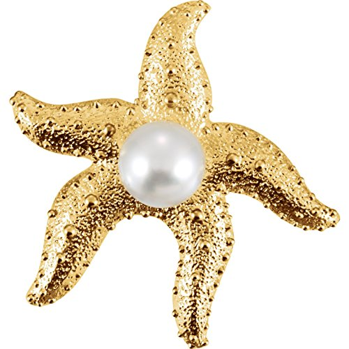 South Sea Cultured Pearl Starfish Brooch in 18k Yellow -
