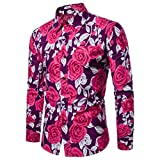 Clearance Sale Mens Button Down Shirts vermers Men Fashion Flower Printed Blouse Casual Long Sleeve Slim Shirts Tops(S, Purple)