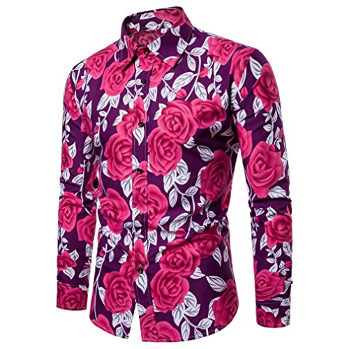 Clearance Sale Mens Button Down Shirts vermers Men Fashion Flower Printed Blouse Casual Long Sleeve Slim Shirts Tops(S, Purple) by vermers