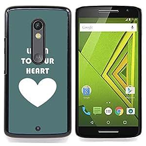 For Motorola Verizon DROID MAXX 2 / Moto X Play - Listen To Your Heart Teal Love White /Modelo de la piel protectora de la cubierta del caso/ - Super Marley Shop -