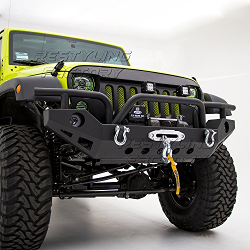 Restyling Factory 07-17 Jeep Wrangler JK Black Textured Full Width Front Bumper With OE Fog Lights Hole and Winch Plate Built In (Black) (Black)