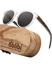 ABLIBI Womens Retro Round Polarized Wood Sunglasses Cateyes Wood Sunglass (Walnut, Grey)