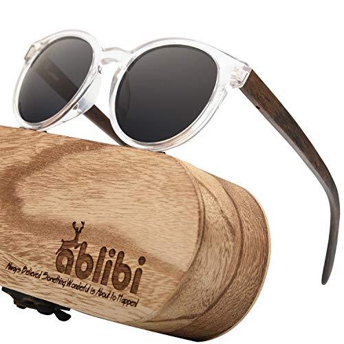ABLIBI Womens Retro Round Polarized Wood Sunglasses Cateyes Wood Sunglass (Walnut, Grey) ()