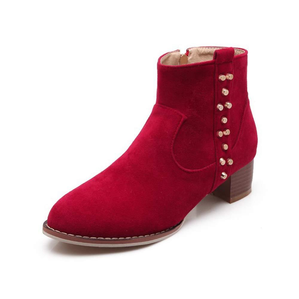 CITW Herbstliche Damenstiefel Rivet Wildleder Stiefel Mit Großen Damen Stiefeln Warme Stiefelmode Stiefel,rot,UK1 EUR35