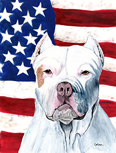 Caroline's Treasures SC9026CHF USA American Flag with Pit Bull Flag Canvas, Large, Multicolor