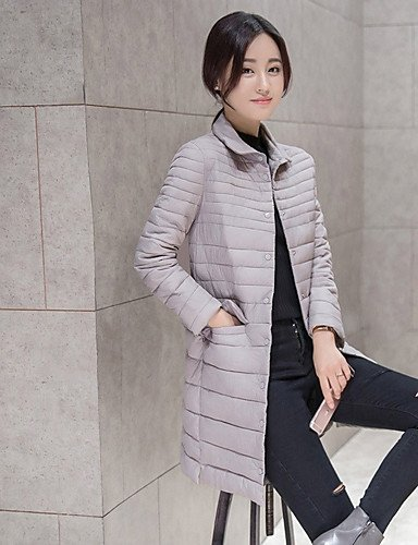 Coat Solid Women'S Padded ZHUDJ Long Regular Casual Polyester Sleeves Polypropylene XL Gray Simple Daily Tt1x0
