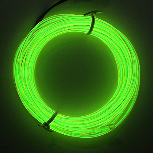16 4Ft Blue Neon Glowing Strobing Electroluminescent El Wire Light With Battery Pack Controller For Parties  Halloween  Automotive  Advertisement Decoration  Lemon Green