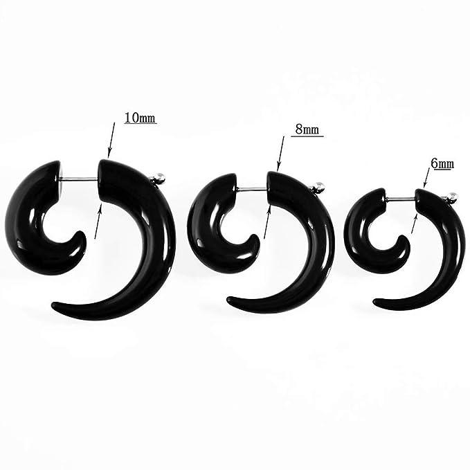 ERP 3 Pares Falso Pendientes Expansores Oreja Caracol Espirales Dilatación Piercing Túnel Acrílico Negro Plug 6mm,8mm,10mm: Amazon.es: Hogar