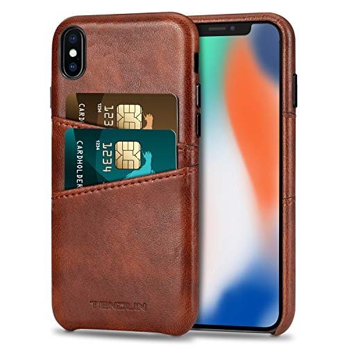 TENDLIN Compatible with iPhone Xs Case/iPhone X Case Wallet Design Premium Leather Case with 2 Card Holder Slots Compatible with iPhone X and iPhone Xs (Brown)