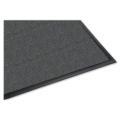 Genuine Joe Indoor/Outdoor Mat, Rubber Cleated Backing, 3 by 5-Feet, Charcoal