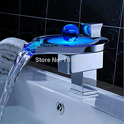 PST@ New Design Three Color Temperature Controlled LED Light Bathroom Waterfall Mixer Tap Single Handle Vessel Sink Basin Faucet