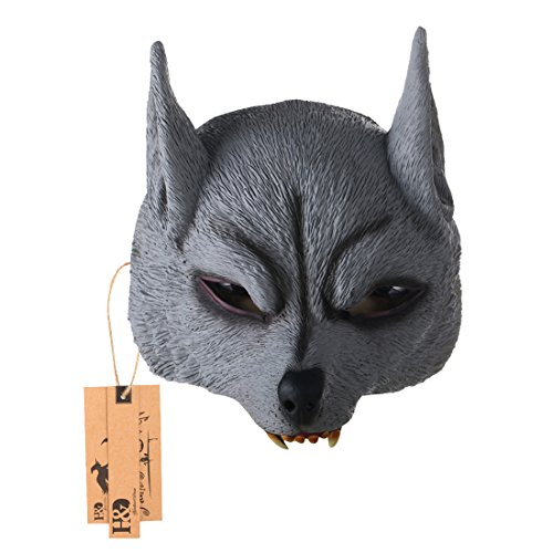 [Hyaline&Dora Half Face Masks For Adults,Animal Latex Mask for Halloween Masquerade Cosplay (gray wolf mask)] (Half Masks Halloween)