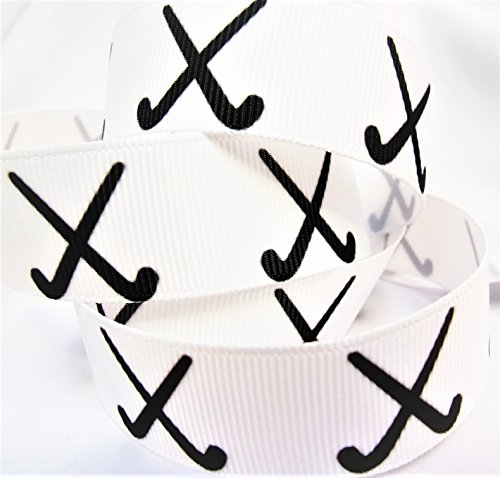 Grosgrain Ribbon - White & Black Field Hockey Print - 7/8