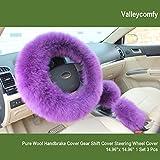 "Steering Wheel Cover Fashion Australia Pure Wool for Women/Girls/Ladies 14.96""x 14.96"" 1 Set 3 Pcs (Purple)"