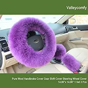 Valleycomfy Fashion Steering Wheel Covers for Women/Girls/Ladies Australia Pure Wool 15 Inch 1 Set 3 Pcs, Purple