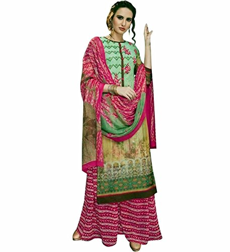 Designer Palazzo Pants Partywear Georgette Embroiderd Salwar Kameez – 0X Plus, Green