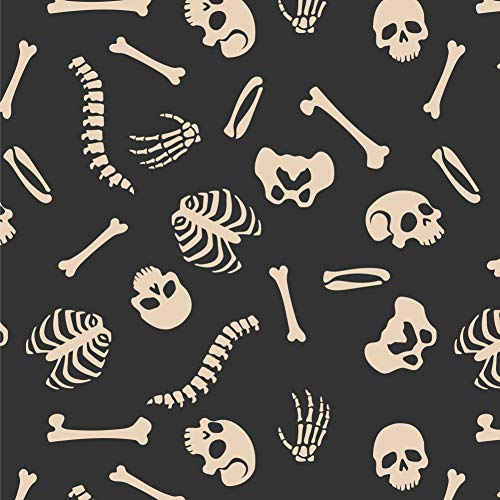 (GRAPHICS & MORE Skeleton Skull Bones Rib Cage and Femur Pattern Premium Roll Gift Wrap Wrapping Paper)