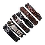 Jiuyuan Unisex Punk Rock Skull Star Multi Charm Bracelet Gothic Jewelry Braided Rope Leather Bracelet