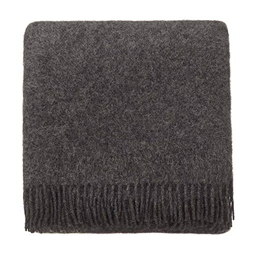 (URBANARA 100% Pure New Zealand Lambswool Blanket Miramar 51x75 Dark Grey with Fringe - Throw Designed in Strong Block Colors - Perfect for Your Couch, Sofa,)