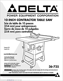 Delta 36-725 Contractor Saw Owners Instruction Manual Reprint ...