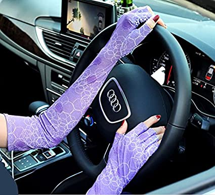 Womens Driving Sun Glove UV Skin Protection for Outdoor Sports Fingerless Hands Arm Cover Sleeve 1 Pair