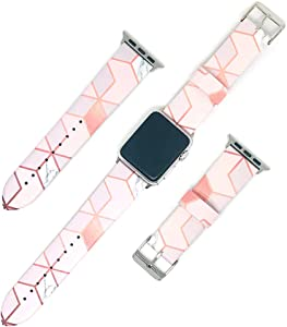 Replacement Band Compatible with iWatch 42mm 44mm PU Leather Strap Wrist Compatible for Apple Watch Series 3 Series 2 Series 1 Sport Edition Nike+ (Rose Gold White Marble, 42mm/44mm)