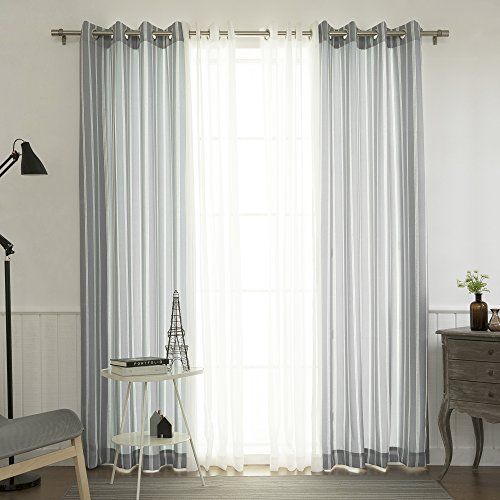 Best Home Fashion uMIXm Mix and Match Muji Sheer and Nordic Ikat Pinstripe 4 Piece Curtain Set Stainless Steel Nickel Grommet Top Grey – 52 W x 84 L 2 Curtains and 2 Sheer Curtains