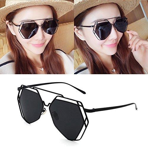 Espejo Anti sol Amarillo Polarizada Protección 100 de Sra Luz Poligonal UV Color Retro Protección Negro gafas UVA Decoración Solar Clásico WYYY Hombres p8fqSn6p