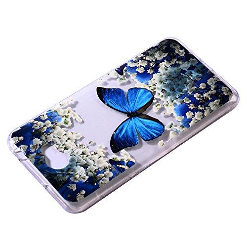 Funda Huawei Y5 II TPU Silicona Carcasa(con Gratis Pantalla Protector),KaseHom Elegante Hermosa Mariposa Azul Patrón [Shock-Absorción y Anti-Arañazos] Transparente Suave Flexible Caucho Caso Hermosa mariposa azul