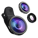 AMIR 3 in 1 Cell Phone Lens, 180° Fisheye Lens + 10X Macro Lens + 0.4X Wide Angle Lens, Professional HD Camera Lens Kits, Clip on Smartphone Lens, for iPhone 7/ 7 Plus/ 6/ 6s Plus/ SE, LG, HTC, Huawei, Samsung and Other Smartphon