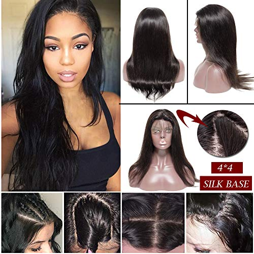 (Silk Top Full Lace Wig Remy Human Hair With Pre-Plucked Hairline Silk Base Lace Front Wig With Baby Hair Free Part 130% Density Body Wave Straight Deep Wave For Black Women(18