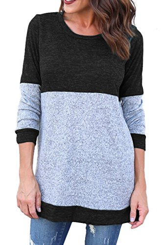 Laucote Womens Color Block Crew Neck Long Sleeve Casual Knit Pullover Sweatshirt for cheap