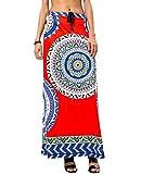 neveraway Women Highwaist Big Pendulum Dashiki Bechwear Africa Casual Long Skirt Orange2 OS